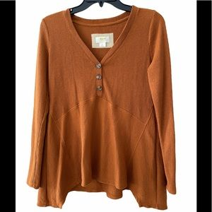 Anthropologie Maeve Long Sleeve Waffle Knit Top
